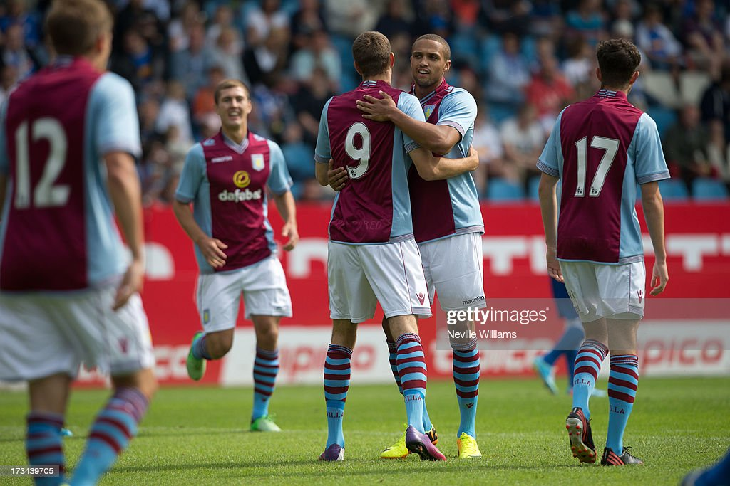 Nicklas Helenius of Aston Villa celebrates his goal for Aston Villa during the Pre Season Friendly match between VfL Bochum and Aston Villa at Rewirpower Stadion on July 14, 2013 in Bochum, Germany.