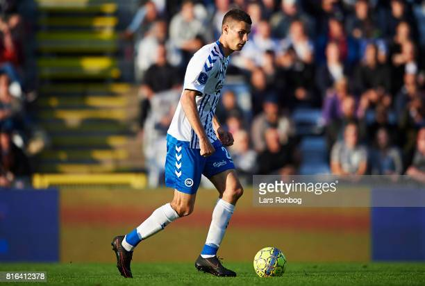 Nicklas Helenius of OB Odense controls the ball during the Danish Alka Superliga match between OB Odense and FC Nordsjalland at EWII Park on July 17...