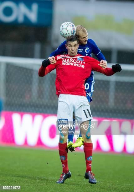 Nicklas Helenius of Silkeborg IF and Nicolai Boilesen of FC Copenhagenthe Danish Alka Superliga match between Silkeborg IF and FC Copenhagen at...