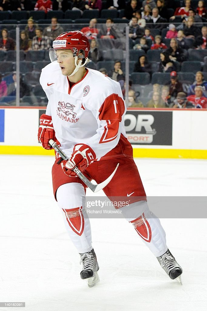 Nicklas Jensen #17 of Team Denmark skates during the 2012 World Junior Hockey Championship game against Team Switzerland at the Saddledome on January 2, 2012 in Calgary, Alberta, Canada.