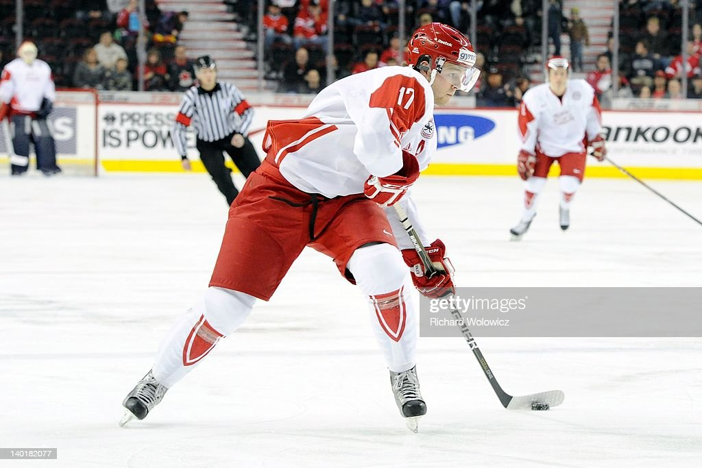 Nicklas Jensen #17 of Team Denmark skates with the puck during the 2012 World Junior Hockey Championship game against Team Switzerland at the Saddledome on January 2, 2012 in Calgary, Alberta, Canada.