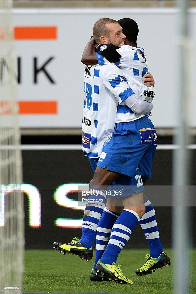 Nicklas Pedersen of KAA Gent celebrates after scoring during the Jupiler League match between KAA Gent and Club Brugge on December 22, 2013 at the Ghelamco arena in Gent, Belgium.