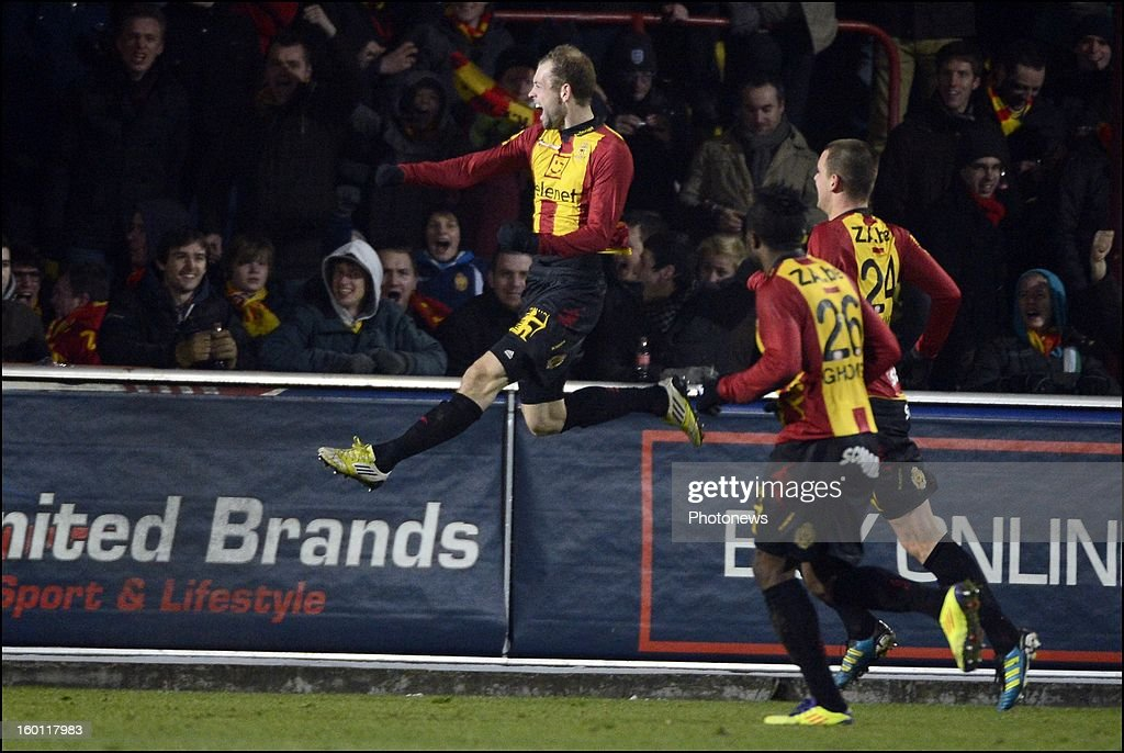 Nicklas Pedersen of KV Mechelen celebrates pictured during the Jupiler League match between KV Mechelen and KRC Genk on January 26, 2013 in Mechelen, Belgium.