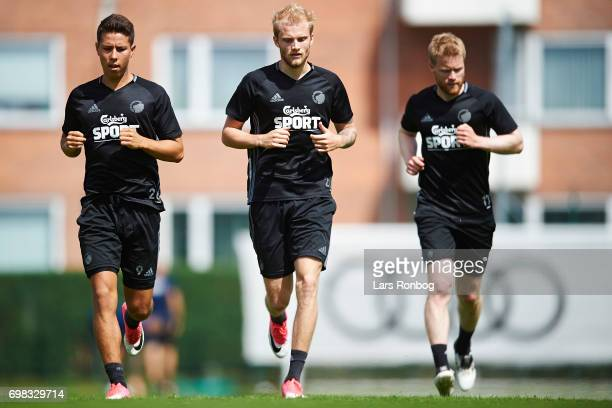 Nicklas Rojkjar Nicolai Boilesen and Tom Hogli of FC Copenhagen in action during the FC Copenhagen training session at KB's baner on June 20 2017 in...
