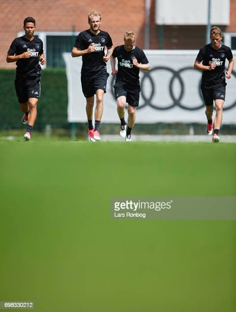 Nicklas Rojkjar Nicolai Boilesen Tom Hogli and Kasper Kusk of FC Copenhagen in action during the FC Copenhagen training session at KB's baner on June...