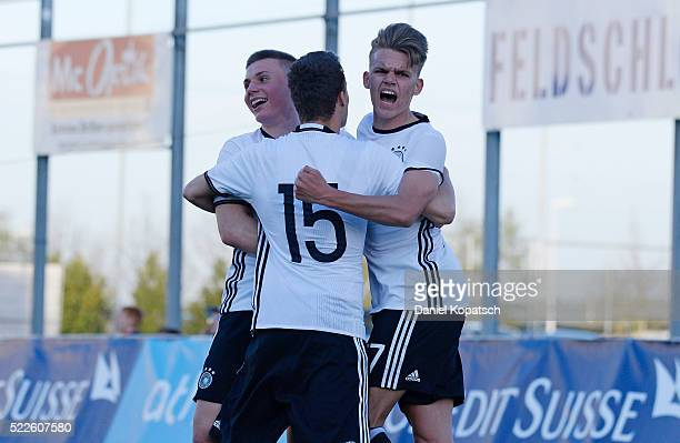 Nicklas Shipnoski of Germany celebrates his team's first goal with team mates during the U18 International Friendly match between Switzerland and...