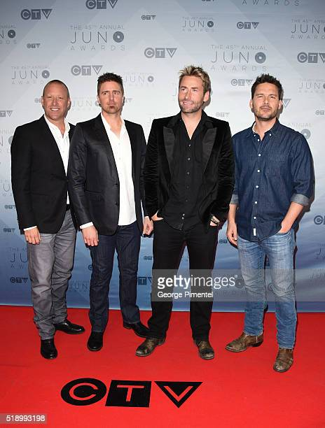 Nickleback arrives at the 2016 Juno Awards at Scotiabank Saddledome on April 3 2016 in Calgary Canada
