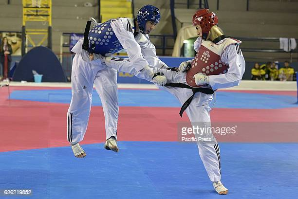 PALATRINCONE POZZUOLI NAPLES ITALY Nickolas Pugliese red armor against Giuseppe Bonaccorso blue armor 58 kg category Nickolas Pugliese wins the match...