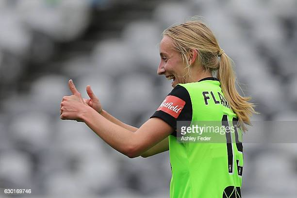 Nickoletta Flannery of Canberra United celebrates a goal during the round seven WLeague match between Canberra and Brisbane at Central Coast Stadium...