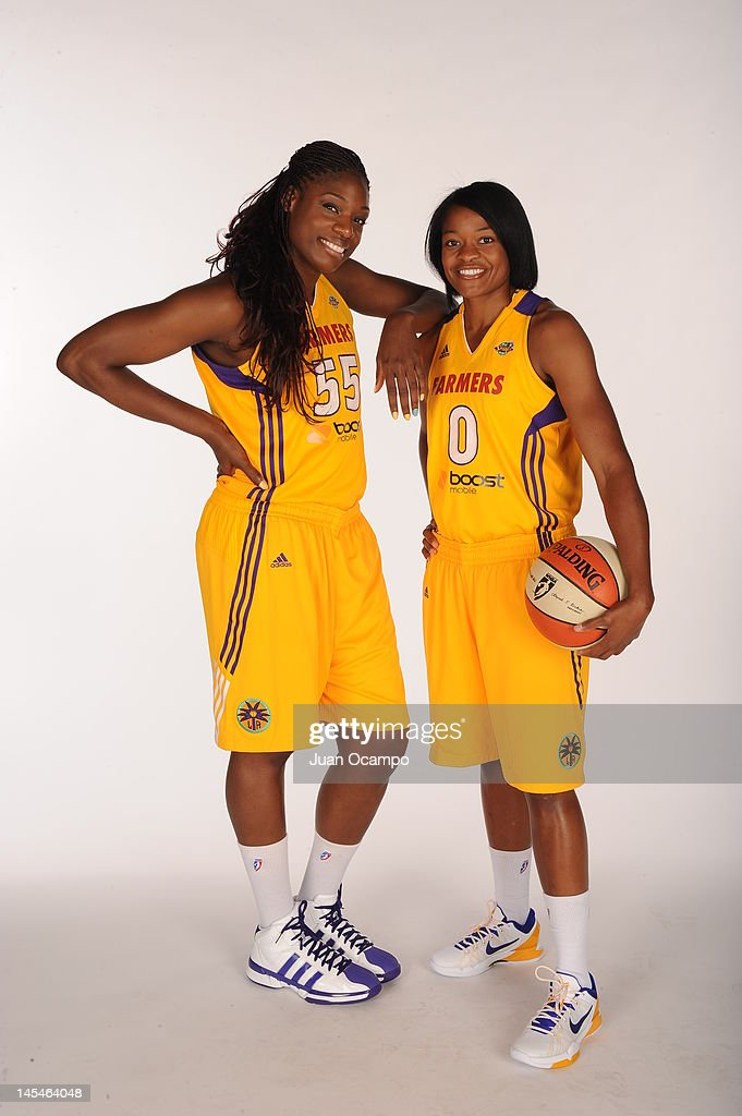 Nicky Anosike and Alana Beard of the Los Angeles Sparks pose for a portrait during media day at Los Angeles Southwest College on May 14 2012 in Los...