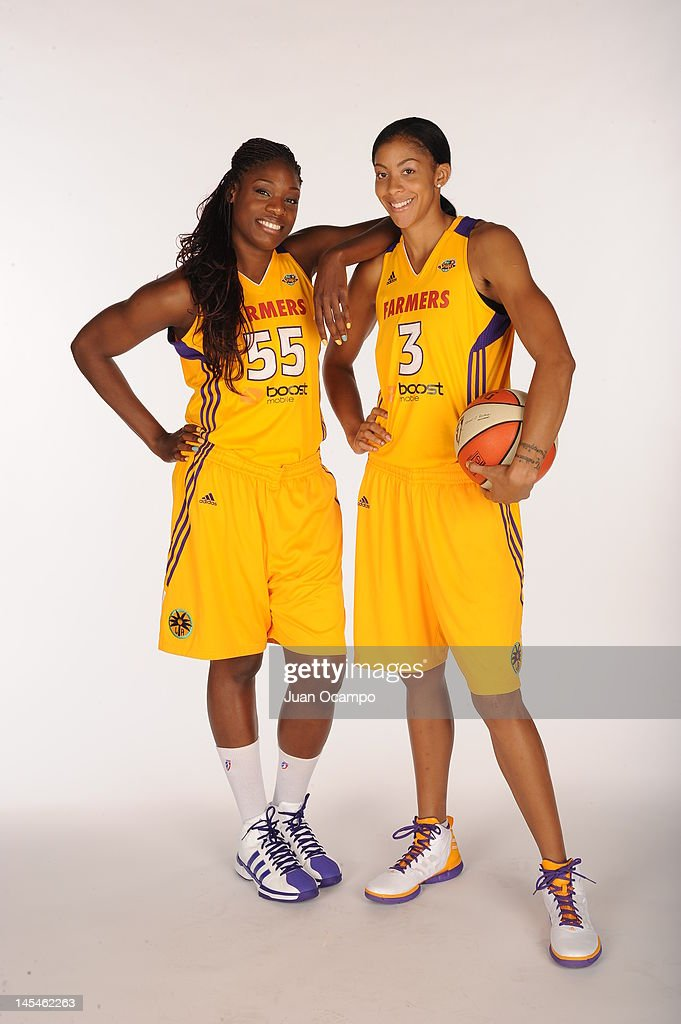 Nicky Anosike and Candace Parker of the Los Angeles Sparks pose for a portrait during media day at Los Angeles Southwest College on May 14 2012 in...