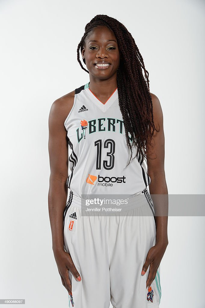 Nicky Anosike #13 of the New York Liberty poses for a portrait during 2014 WNBA Media Day at the MSG Training Facility on May 12, 2014 in Tarrytown, New York.