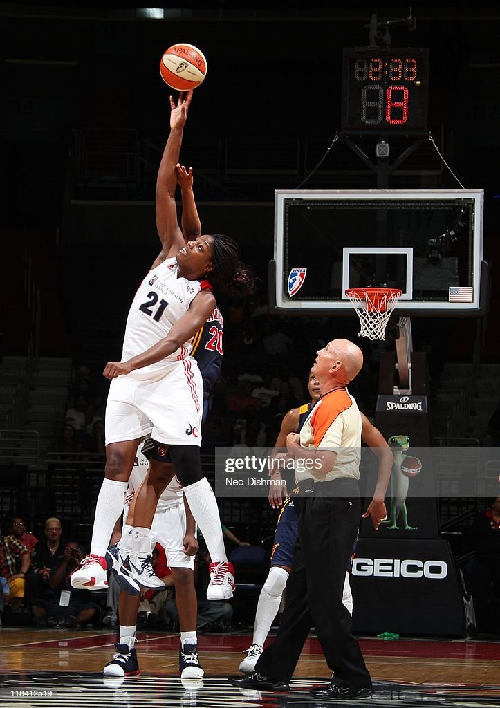 Nicky Anosike of the Washington Mystics goes up for a jump ball during the game against the Indiana Fever at the Verizon Center on June 21 2011 in...