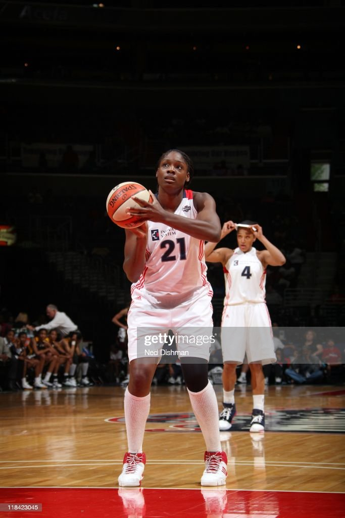 Nicky Anosike of the Washington Mystics shoots a free throw against the Tulsa Shock at the Verizon Center on June 26 2011 in Washington DC NOTE TO...