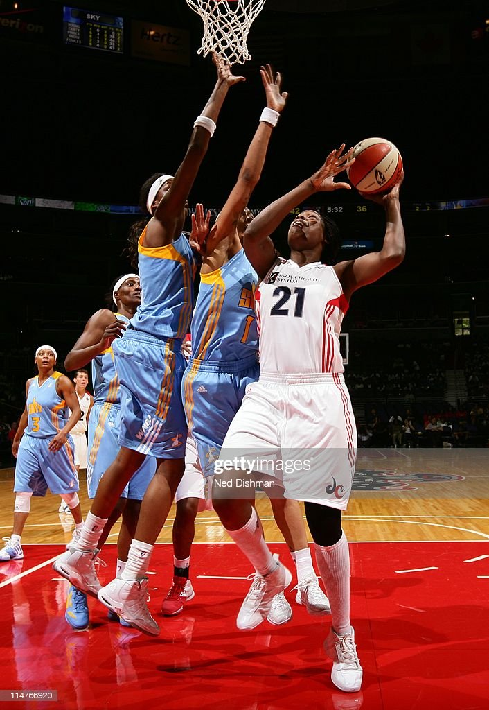 Nicky Anosike of the Washington Mystics shoots against the Chicago Sky at the Verizon Center on May 26 2011 in Washington DC NOTE TO USER User...