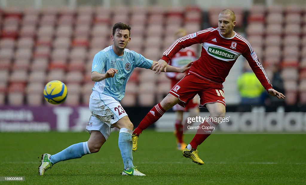Nicky Bailey of Middlesborough shoots past Tom Vickers of Hastings during the FA Cup with Budweiser Third Round match between Middlesbrough and Hastings United at Riverside Stadium on January 5, 2013 in Middlesbrough, England.