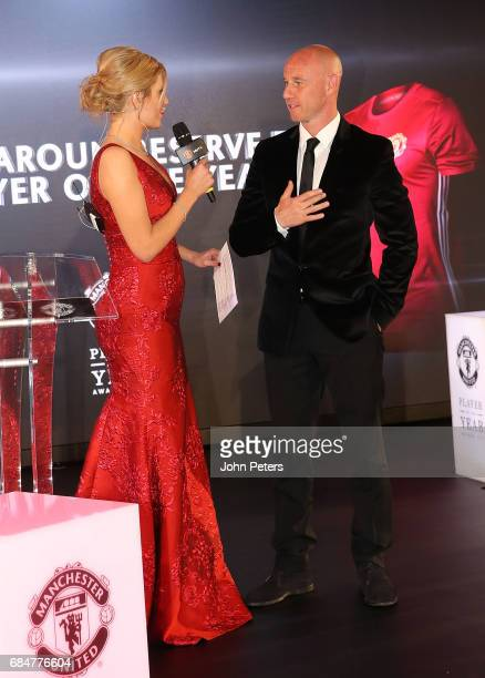 Nicky Butt of Manchester United is interviewed by presenter Rachel Riley at the club's annual Player of the Year awards at Old Trafford on May 18...