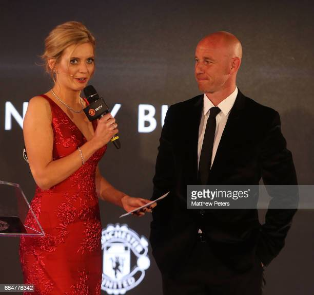 Nicky Butt of Manchester United is interviewed by presenter Rachel Riley at the Manchester United annual Player of the Year awards at Old Trafford on...