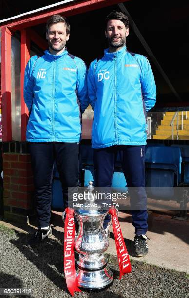 Nicky Cowley and Danny Cowley manager of Lincoln City pictured with the FA Cup during a Lincoln City Media Day ahead of their FA Cup match against...