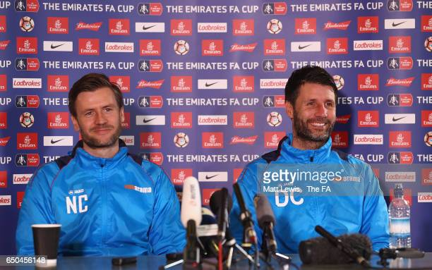 Nicky Cowley and Danny Cowley manager of Lincoln City talk to media during a Lincoln City Media Day ahead of their FA Cup match against Arsenal at...