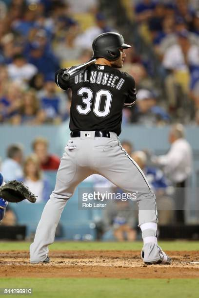 Nicky Delmonico of the Chicago White Sox bats during the game against the Los Angeles Dodgers at Dodger Stadium on August 16 2017 in Los Angeles...