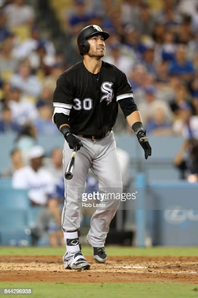 Nicky Delmonico of the Chicago White Sox homers during the game against the Los Angeles Dodgers at Dodger Stadium on August 16 2017 in Los Angeles...