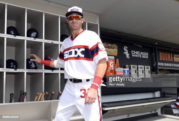 Nicky Delmonico of the Chicago White Sox prepares to play prior to the game against the Kansas City Royals on August 13 2017 at Guaranteed Rate Field...
