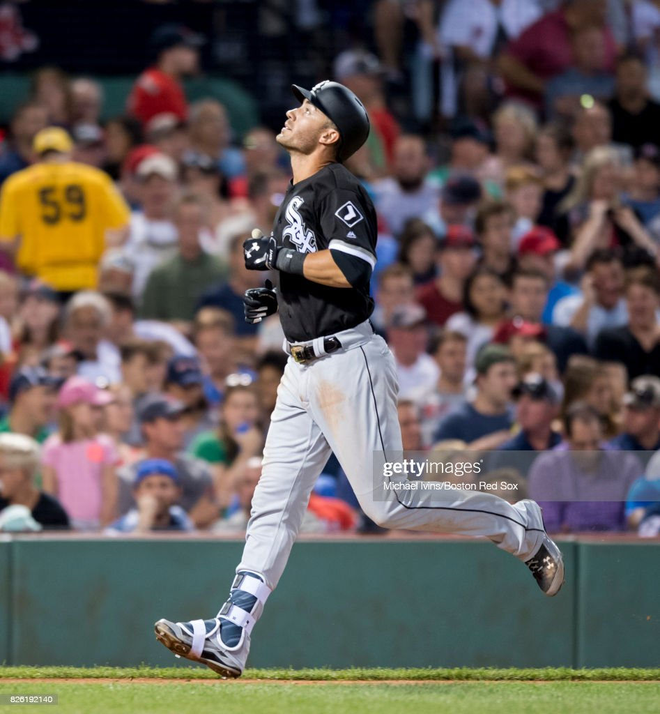 Nicky Delmonico #30 of the Chicago White Sox reacts after hitting a home run against the Boston Red Sox in the third inning on August 3, 2017 in Boston, Massachusetts.