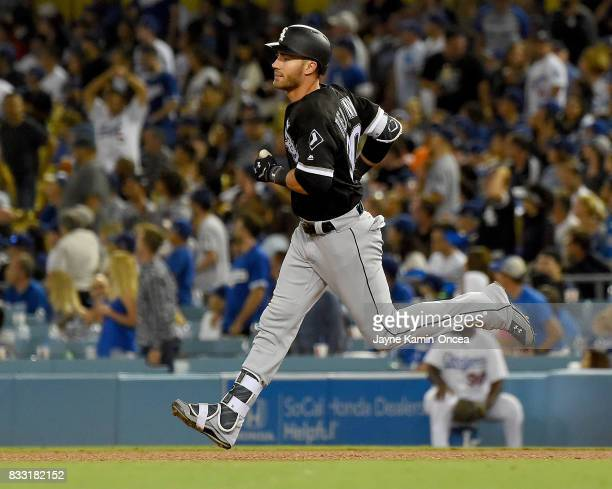 Nicky Delmonico of the Chicago White Sox rounds the bases after a solo home run in the fourth inning of the game against the Los Angeles Dodgers at...
