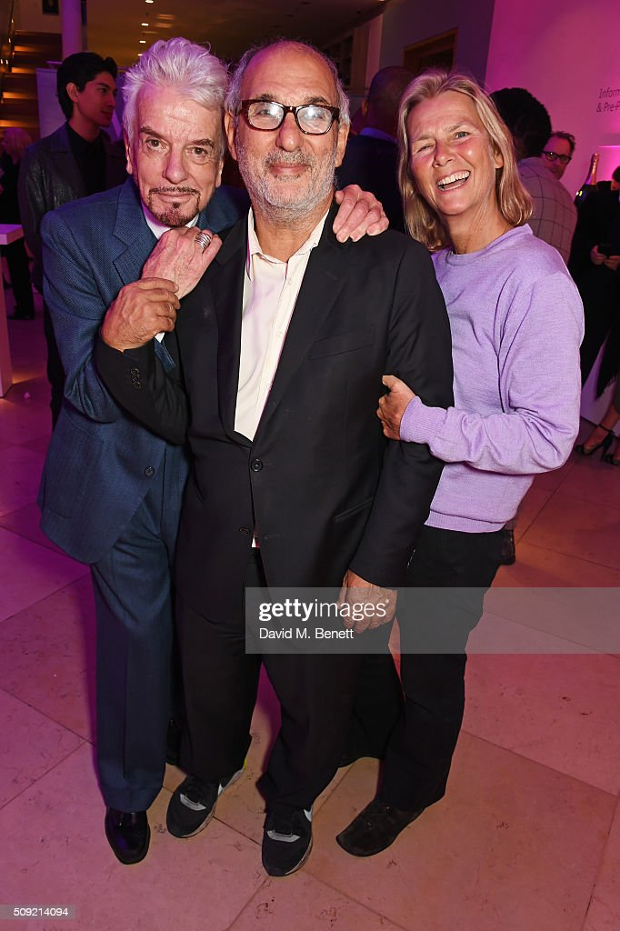 Nicky Haslam, <a gi-track='captionPersonalityLinkClicked' href=/galleries/search?phrase=Alan+Yentob&family=editorial&specificpeople=581634 ng-click='$event.stopPropagation()'>Alan Yentob</a> and Philippa Walker attend a private view of 'Vogue 100: A Century of Style' hosted by Alexandra Shulman and Leon Max at the National Portrait Gallery on February 9, 2016 in London, England.