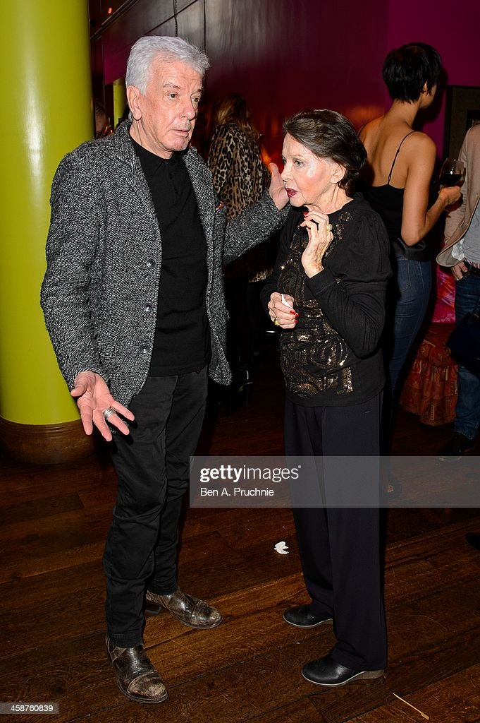 Nicky Haslam (L) and Leslie Caron attend the August: Osage County drinks & screening at Soho Hotel on December 21, 2013 in London, England.