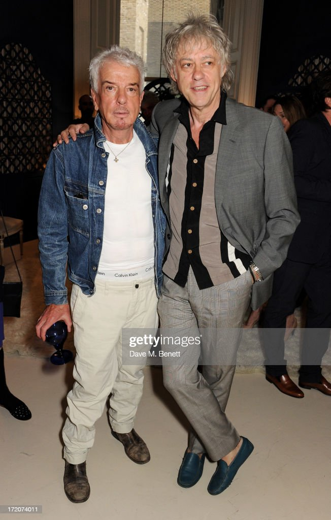 Nicky Haslam (L) and <a gi-track='captionPersonalityLinkClicked' href=/galleries/search?phrase=Sir+Bob+Geldof&family=editorial&specificpeople=204423 ng-click='$event.stopPropagation()'>Sir Bob Geldof</a> attend the launch of Nicky Haslam's new album 'Midnight Matinee' on July 1, 2013 in London, England.
