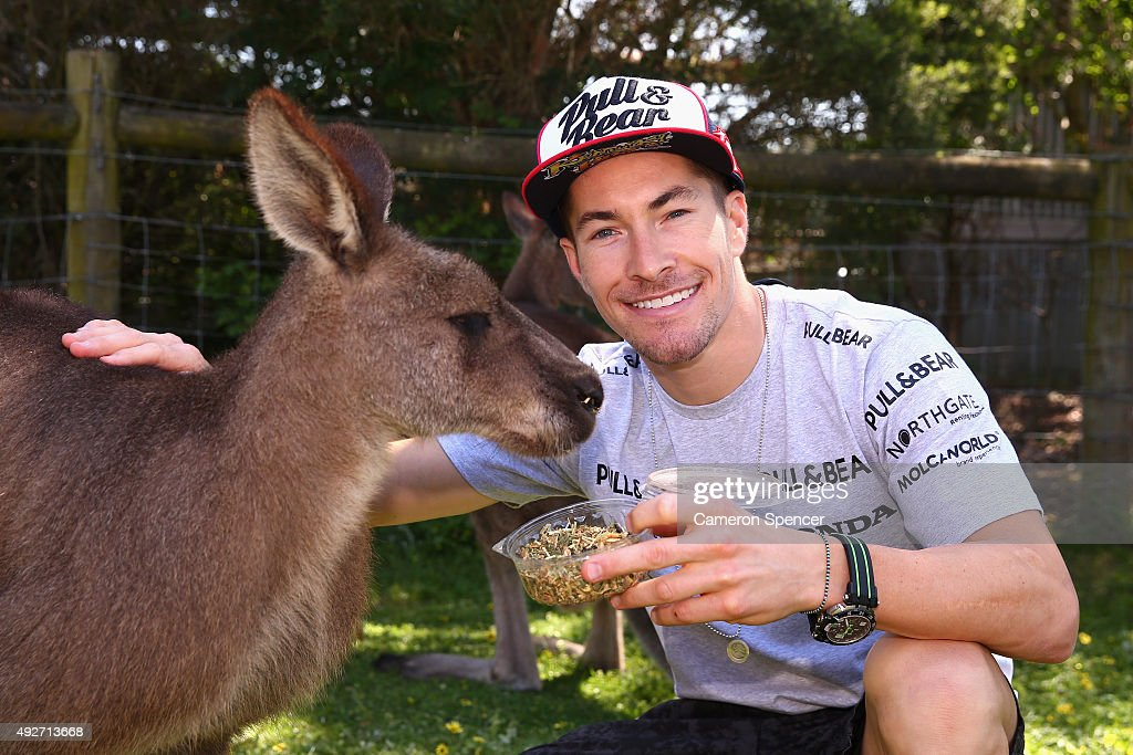 <a gi-track='captionPersonalityLinkClicked' href=/galleries/search?phrase=Nicky+Hayden+-+Motorcycle+Racer&family=editorial&specificpeople=227346 ng-click='$event.stopPropagation()'>Nicky Hayden</a> of Aspar MotoGP team poses with a Kangaroo at Maru Koala & Animal Park ahead of the 2015 MotoGP of Australia at Phillip Island Grand Prix Circuit on October 15, 2015 in Phillip Island, Australia.