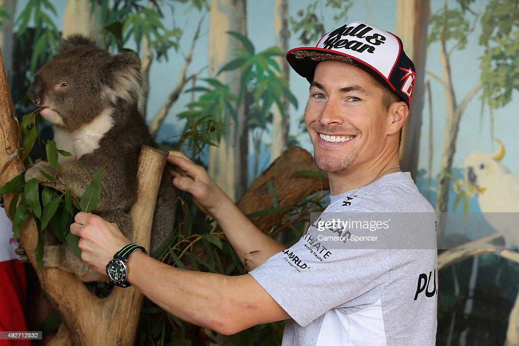 <a gi-track='captionPersonalityLinkClicked' href=/galleries/search?phrase=Nicky+Hayden+-+Motorcycle+Racer&family=editorial&specificpeople=227346 ng-click='$event.stopPropagation()'>Nicky Hayden</a> of Aspar MotoGP team poses with a koala at Maru Koala & Animal Park ahead of the 2015 MotoGP of Australia at Phillip Island Grand Prix Circuit on October 15, 2015 in Phillip Island, Australia.