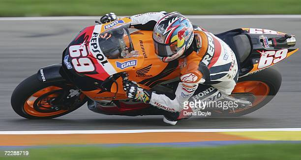 Nicky Hayden of the US in action during the Free Practice for the MotoGP race at the Ricardo Tormo racetrack on October 28 2006 in Valencia Spain