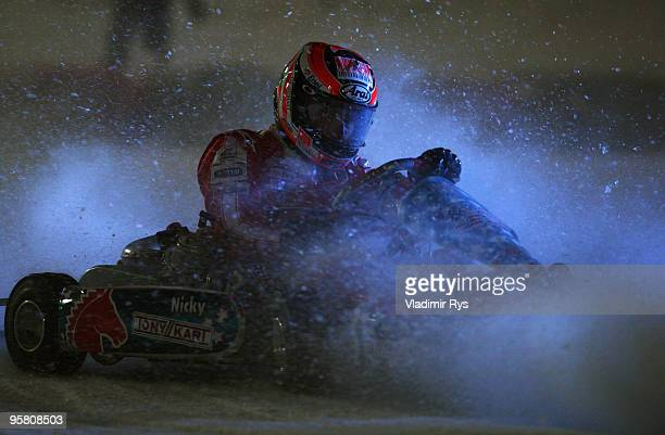 Nicky Hayden of the USA and Ducati drives a kart during the Wroom 2010 on January 15 2010 in Madonna Italy