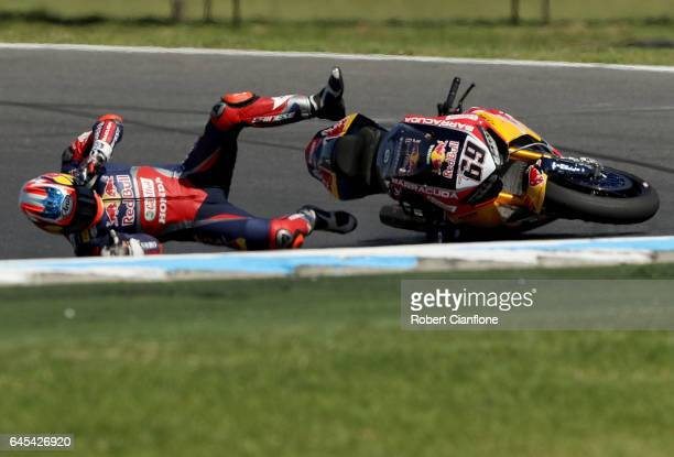 Nicky Hayden of the USA and rider of the Red Bull Honda World Superbike Team Honda crashes during race two of round one of the FIM World Superbike...