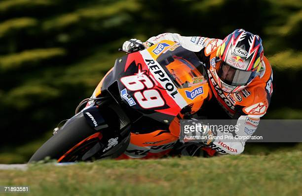 Nicky Hayden of the USA and the Repsol Honda Team corners during MotoGP qualifying 1 at the 2006 GMC Australian Motorcycle Grand Prix at the Phillip...