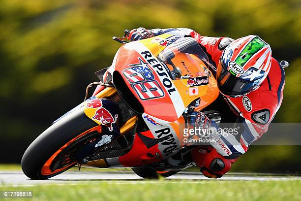 Nicky Hayden of the USA and the Repsol Honda Team rides during warm up for the 2016 MotoGP of Australia at Phillip Island Grand Prix Circuit on...