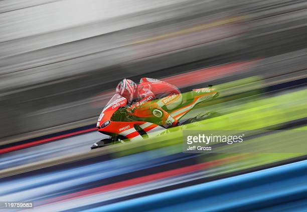 Nicky Hayden of the USA rides the Ducati during a warm up for the Red Bull US Grand Prix at Mazda Raceway Laguna Seca on July 24 2011 in Monterey...