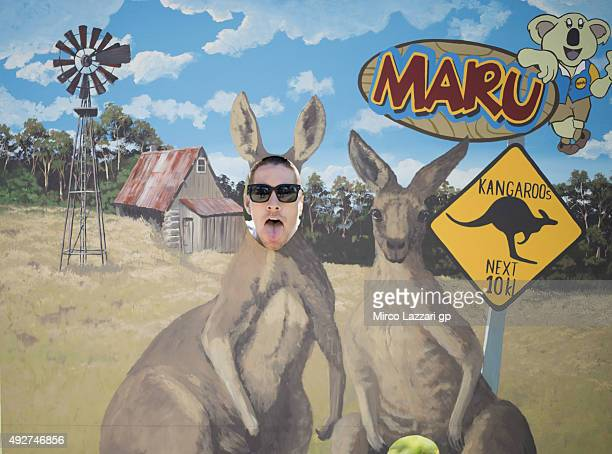 Nicky Hayden of USA and Aspar Team MotoGP jokes during a preevent at the Maru Koala Park ahead of the 2015 MotoGP of Australia at Phillip Island...