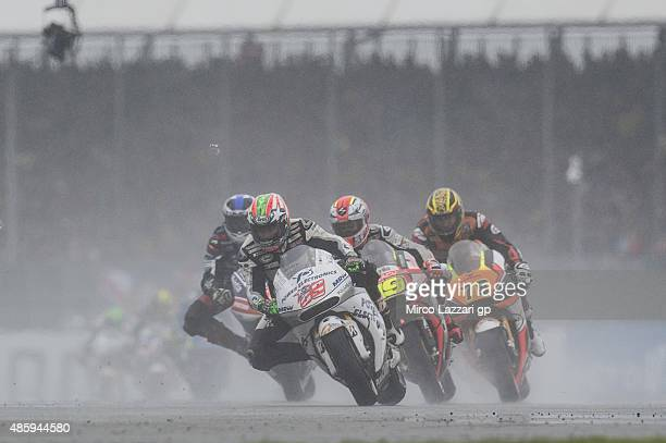 Nicky Hayden of USA and Aspar Team MotoGP leads the field during the MotoGP race during the MotoGp Of Great Britain Race at Silverstone Circuit on...