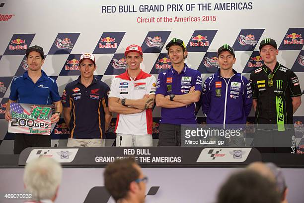 Nicky Hayden of USA and Aspar Team MotoGP Marc Marquez of Spain and Repsol Honda Team Andrea Iannone of Italy and Ducati Team Valentino Rossi of...