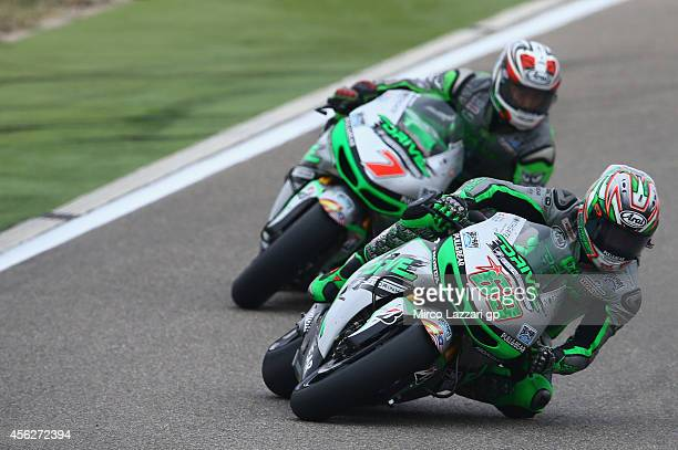 Nicky Hayden of USA and Drive M7 Aspar leads the field during the MotoGP race during the MotoGP of Spain Race at Motorland Aragon Circuit on...