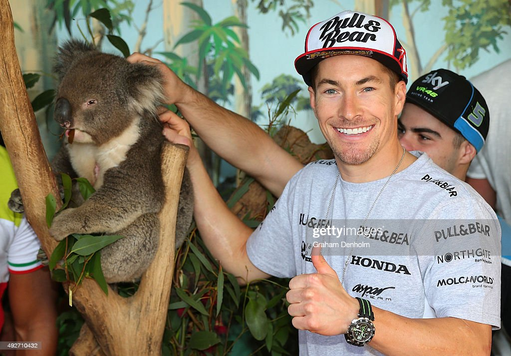 <a gi-track='captionPersonalityLinkClicked' href=/galleries/search?phrase=Nicky+Hayden&family=editorial&specificpeople=227346 ng-click='$event.stopPropagation()'>Nicky Hayden</a> of USA and Drive M7 Aspar poses with a koala bear ahead of the 2015 MotoGP of Australia at Phillip Island Grand Prix Circuit on October 15, 2015 in Phillip Island, Australia.