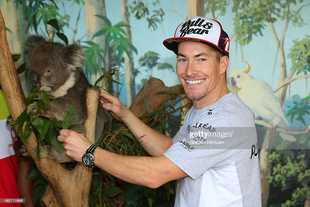 <a gi-track='captionPersonalityLinkClicked' href=/galleries/search?phrase=Nicky+Hayden&family=editorial&specificpeople=227346 ng-click='$event.stopPropagation()'>Nicky Hayden</a> of USA and Drive M7 Aspar poses with a koala bear at an animal park ahead of the 2015 MotoGP of Australia at Phillip Island Grand Prix Circuit on October 15, 2015 in Phillip Island, Australia.