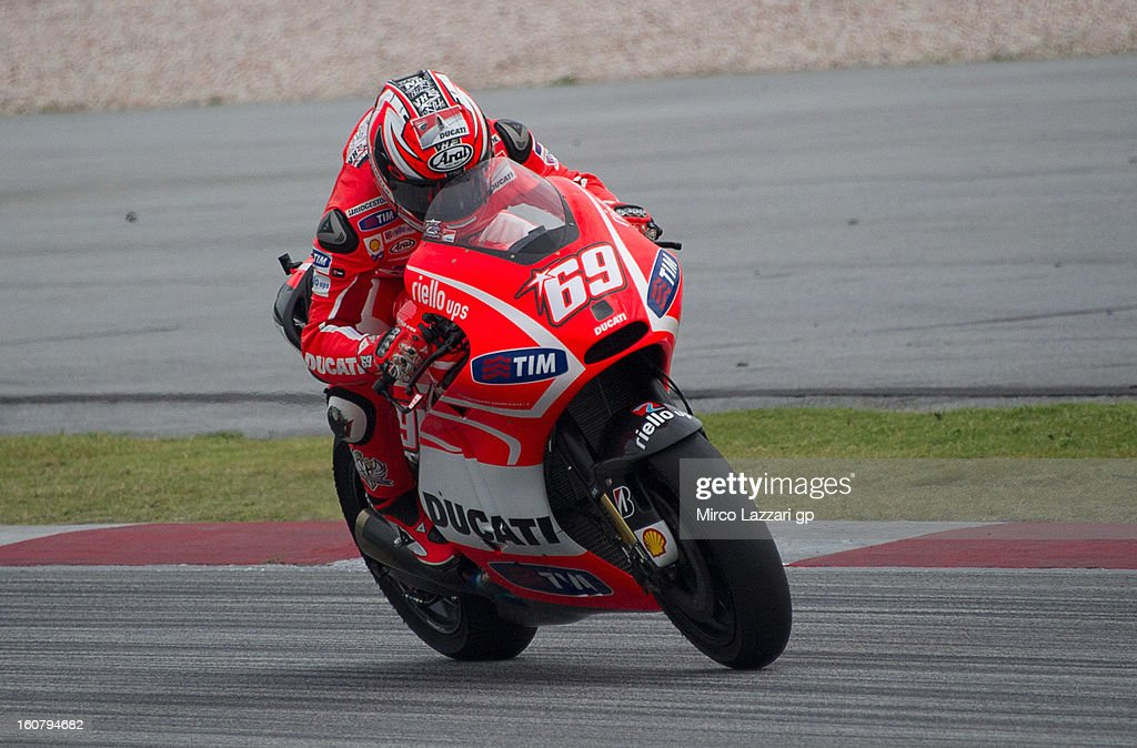 Nicky Hayden of USA and Ducati Marlboro Team heads down a straight during the MotoGP Tests in Sepang - Day Four at Sepang Circuit on February 6, 2013 in Kuala Lumpur, Malaysia.
