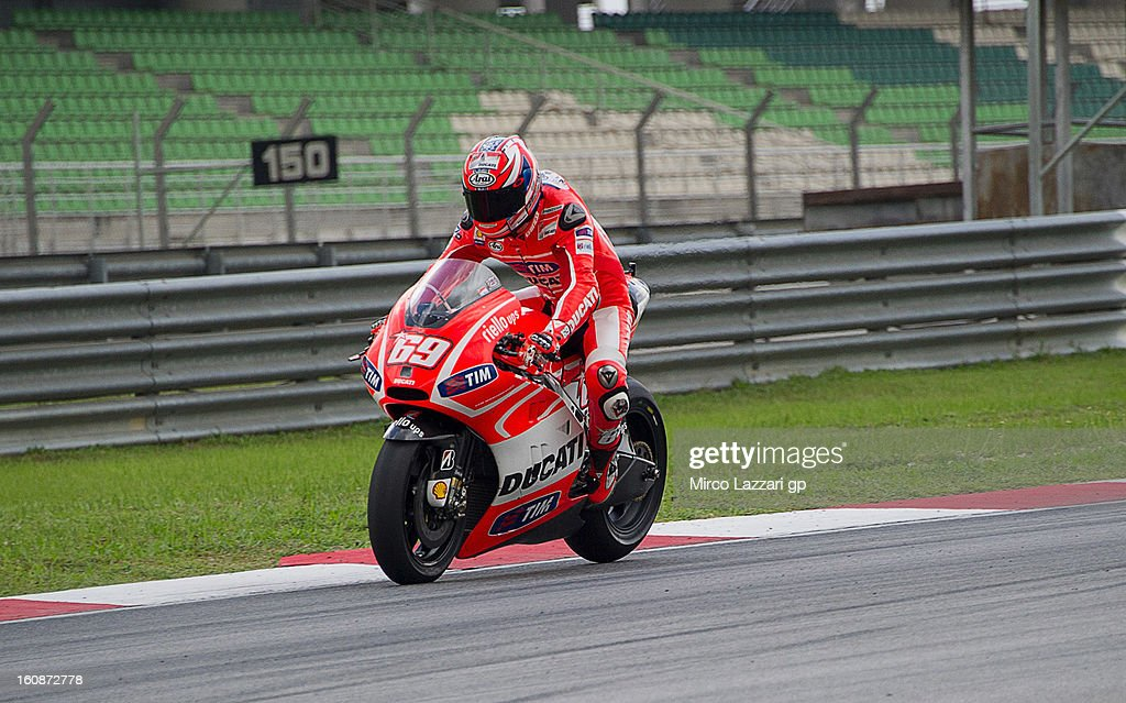 Nicky Hayden of USA and Ducati Marlboro Team heads down a straight during the MotoGP Tests in Sepang - Day Five at Sepang Circuit on February 7, 2013 in Kuala Lumpur, Malaysia.