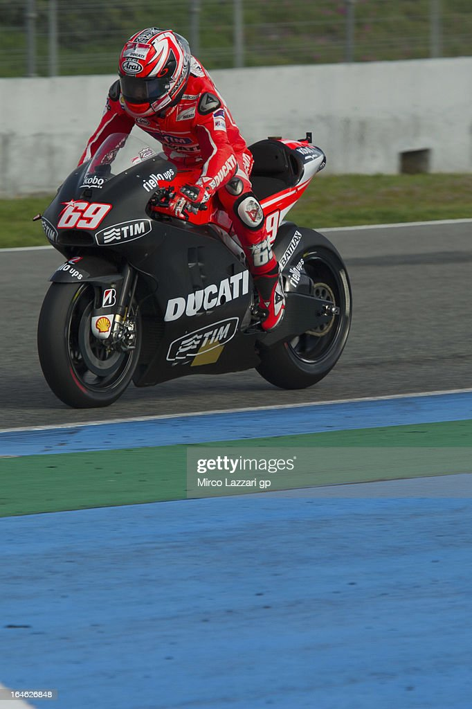 Nicky Hayden of USA and Ducati Marlboro Team heads down a straight during the MotoGP Tests In Jerez - Day 4 at Circuito de Jerez on March 25, 2013 in Jerez de la Frontera, Spain.