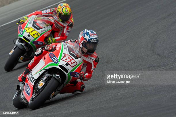 Nicky Hayden of USA and Ducati Marlboro Team leads Valentino Rossi of Italy and Ducati Marlboro Team during the free practice of the Red Bull US...